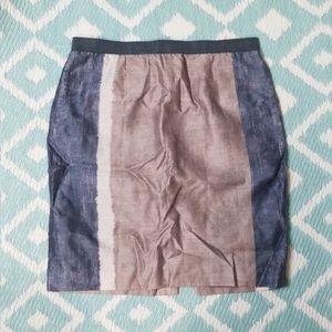 Loft sz 8 Grey Blue Pencil Skirt Strip Cream
